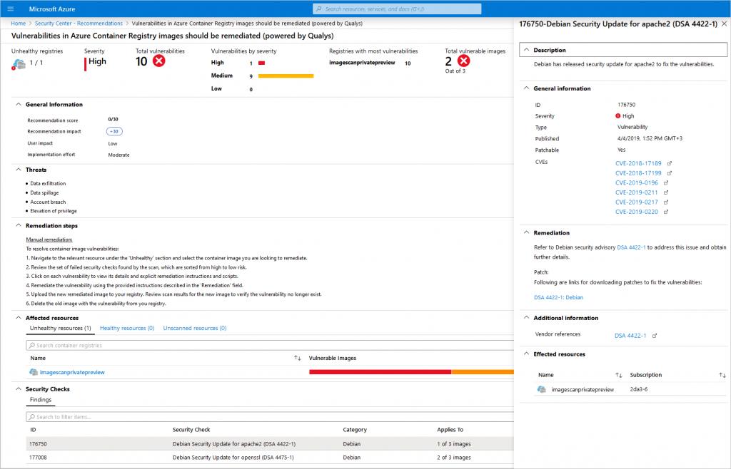 container security acr page 1024x658 - Azure Security Center pour ACR et AKS