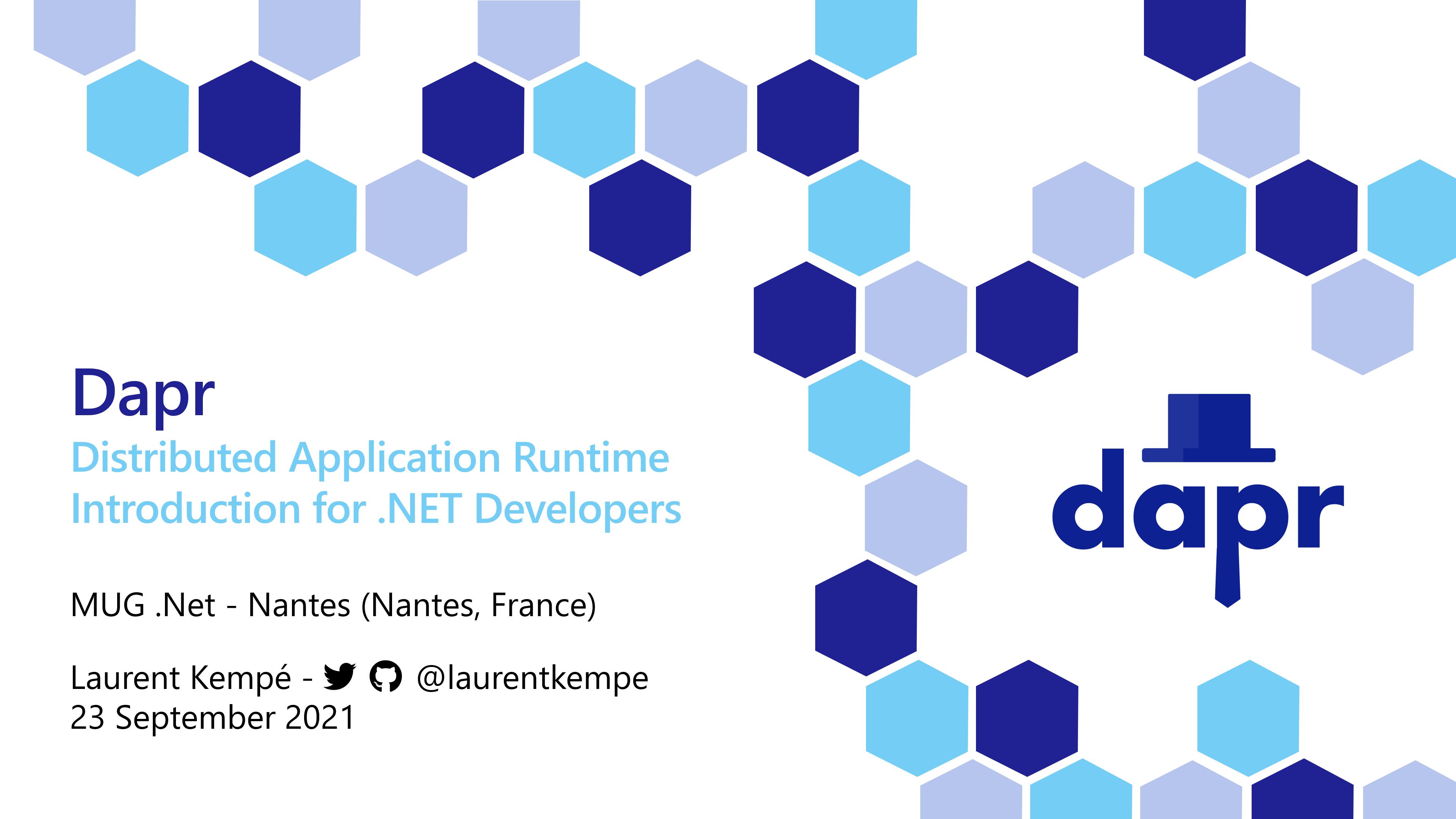 image - MUG Nantes - Dapr : Introduction for .Net Developers